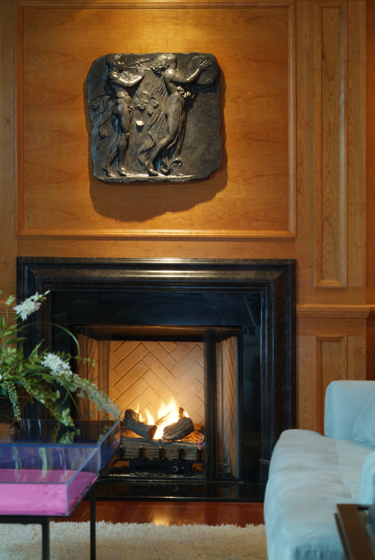black bas relief wall panel