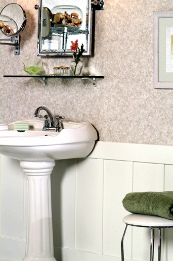 Garden Seasons Paneling from American Pacific in the bathroom