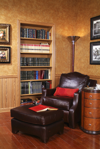 classic study covered in leather wall panels