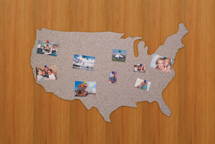 customized united states shaped designer bulletin board