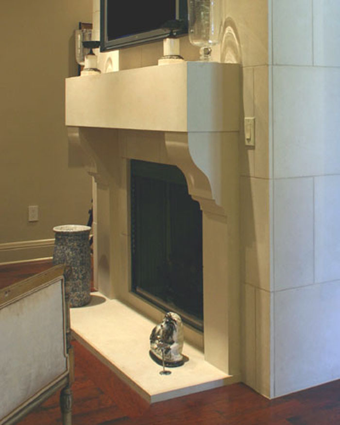 corbel stone fireplace mantel