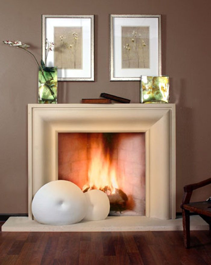 portrait stone fireplace mantel