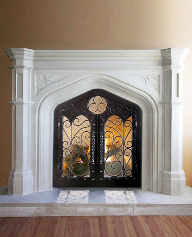 westminister gothic style stone mantel