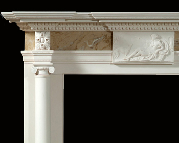 St James Detailed English Marble Mantel