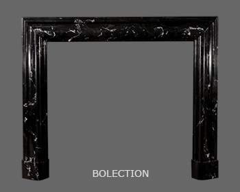 Black Grecco Roman Marble Mantle with Bollection Molding