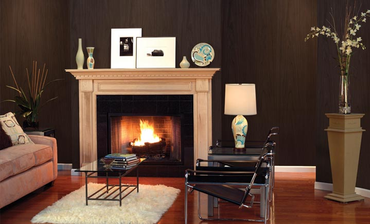 Black Forest library paneling shown with our  harrisburg wood mantel