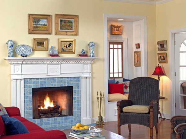 Colonial wood fireplace mantel in white