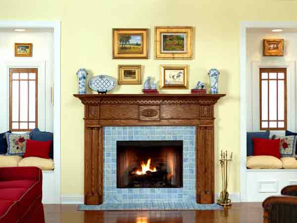Colonial wood fireplace mantel in oak
