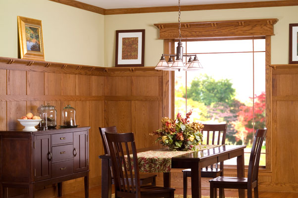 Transitional Cherry Wood Wall Paneling
